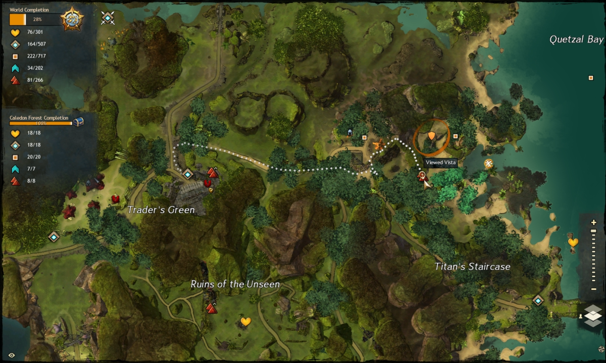 Map route to the Titan's Staircase Vista