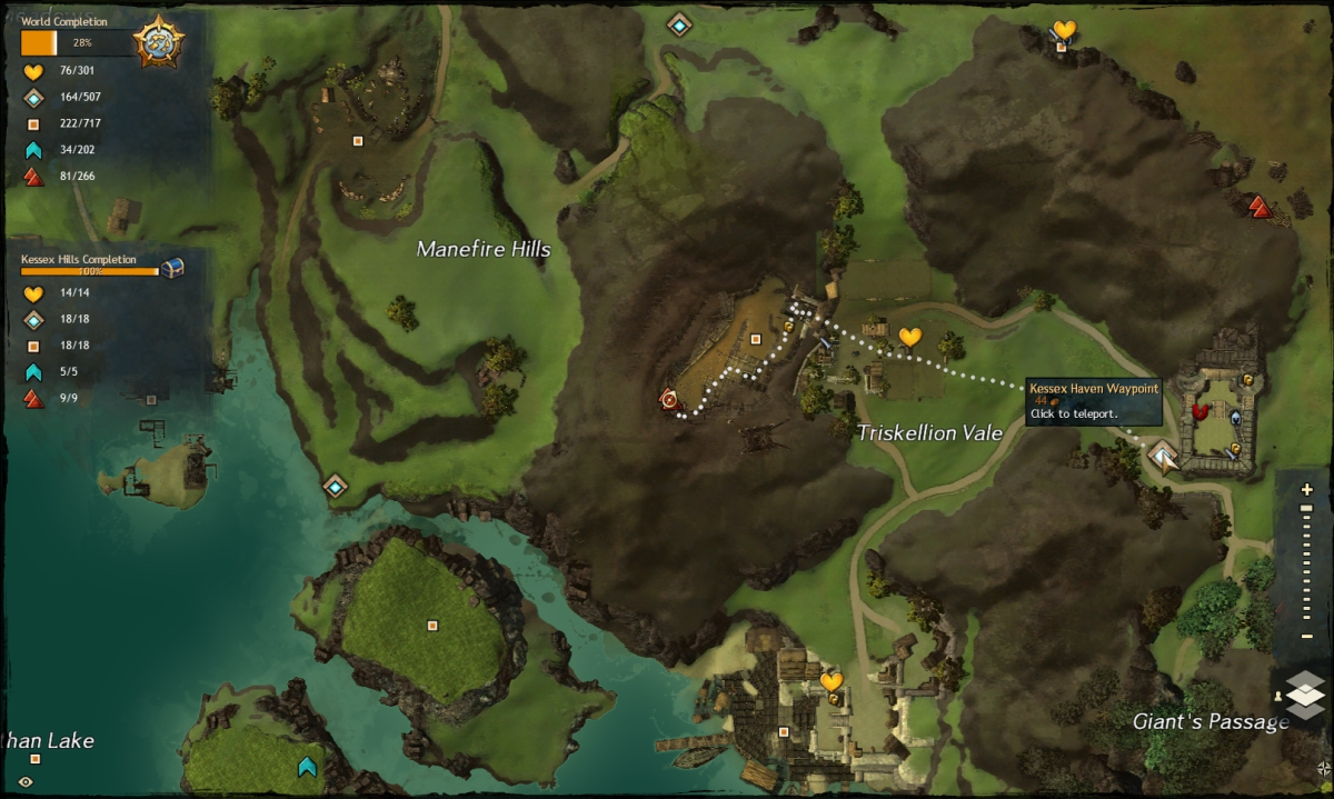 Map route to the Triskellion Vale Vista