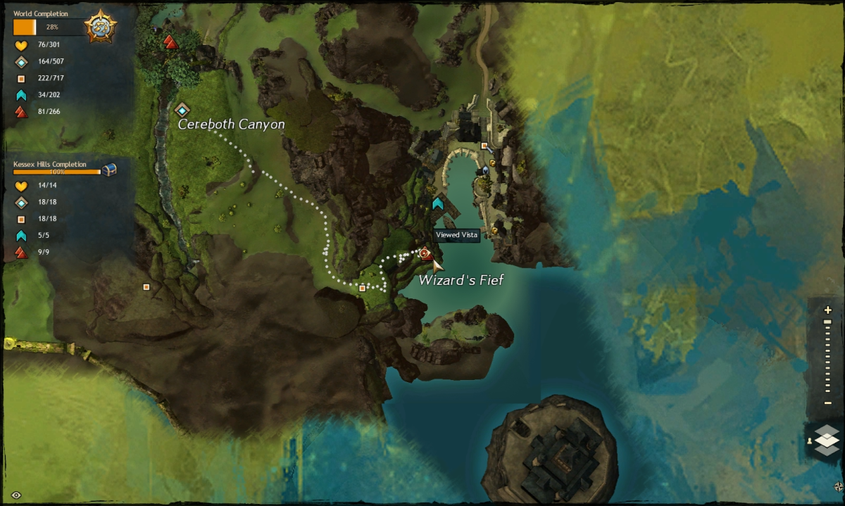 Map route to the Wizard's Fief Vista