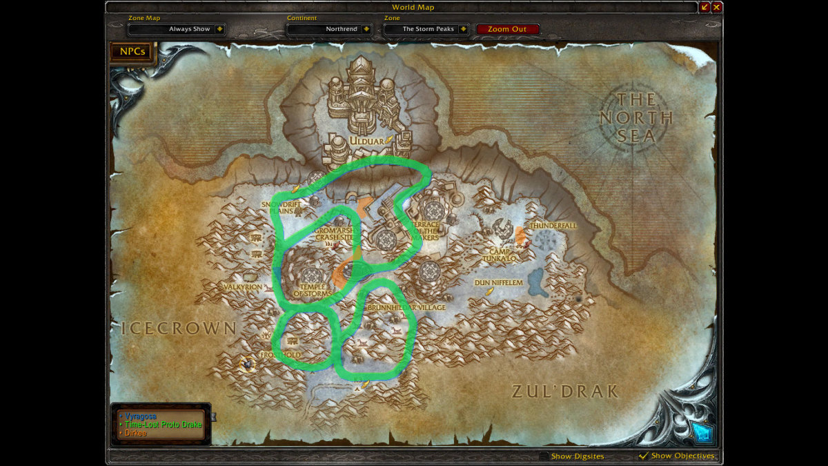 Time-Lost Proto-Drake Spawn Points: The green/blue route is a mix of all of the patrol routes that TLPD/Vyragosa can be found.