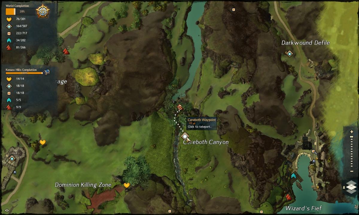 Map route to the Cerebeth Canyon Vista