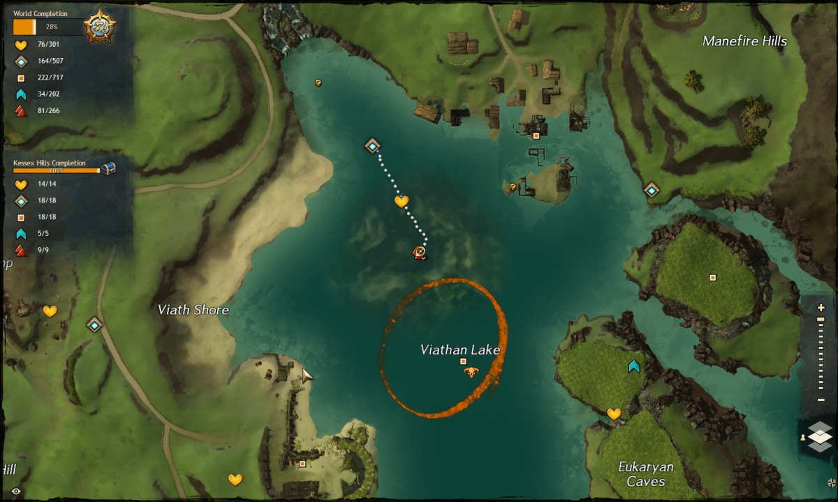 Map route to the Viathan Lake Vista