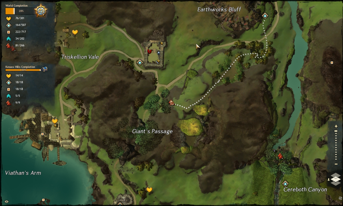 Map route to the Giant's Passage Vista