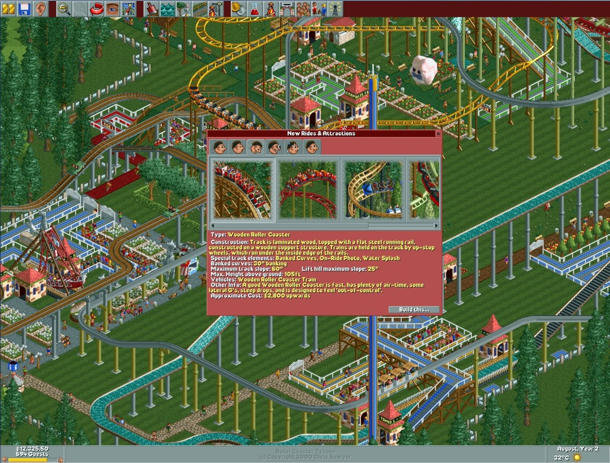 New Rides & Attractions menu in Roller Coaster Tycoon.