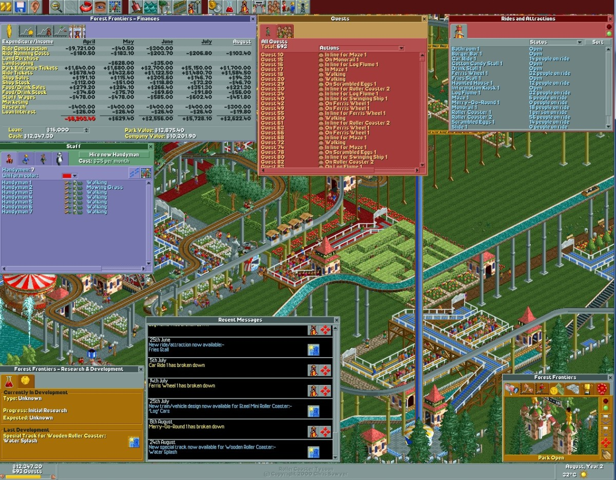 "Various menus used in ""Roller Coaster Tycoon."""