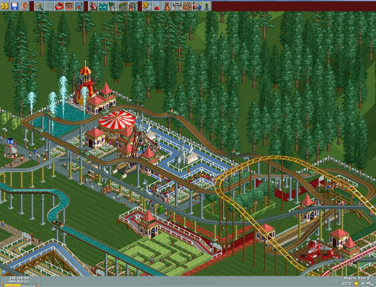 "My car ride in my park in ""RollerCoaster Tycoon,"" with guests riding on it."