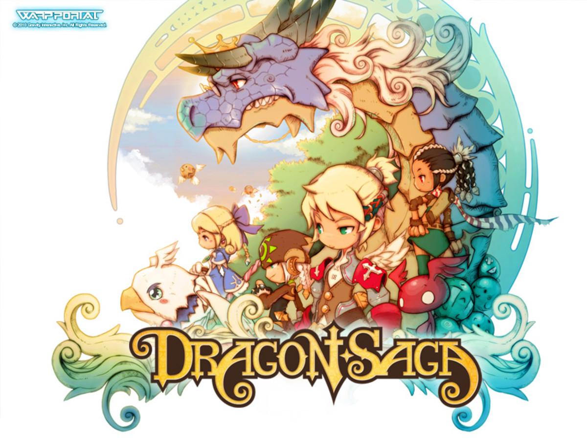 """The """"Dragon Saga"""" logo."""