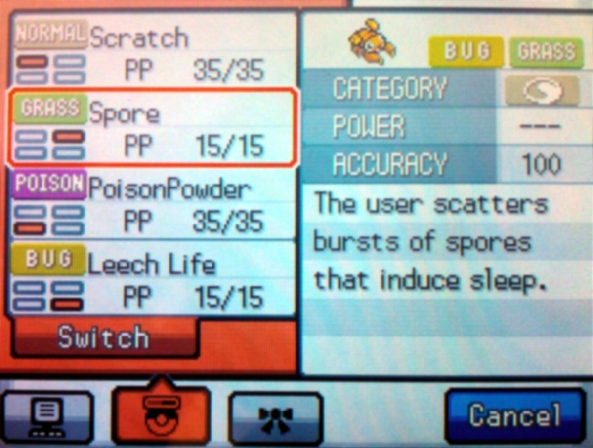 Paras and Parasect can learn the move Spore by leveling, putting Pokémon to sleep.