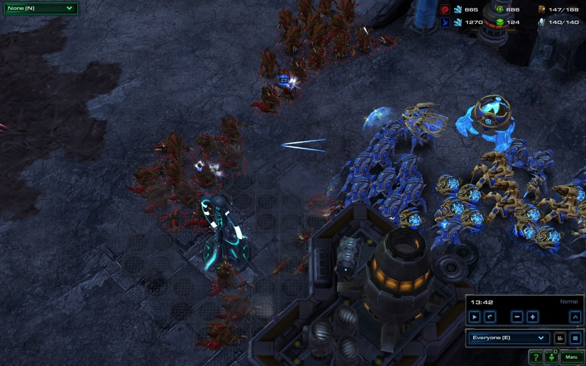 Here, a concave ensures all your units are attacking in comparison to the Protoss units that are in a ball.