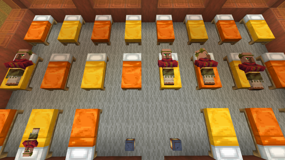 These rows of beds are spaced apart so that villagers can reach them.