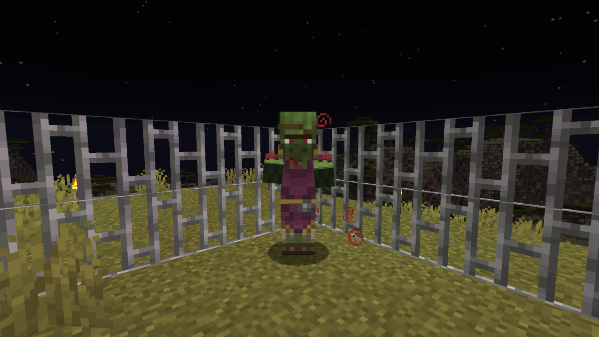A zombie villager is being cured while trapped in an iron bar prison.