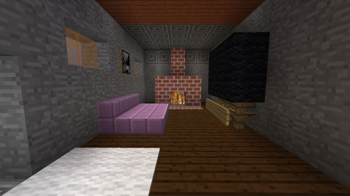 Building a fireplace, television, and couch makes a living room feel more complete.