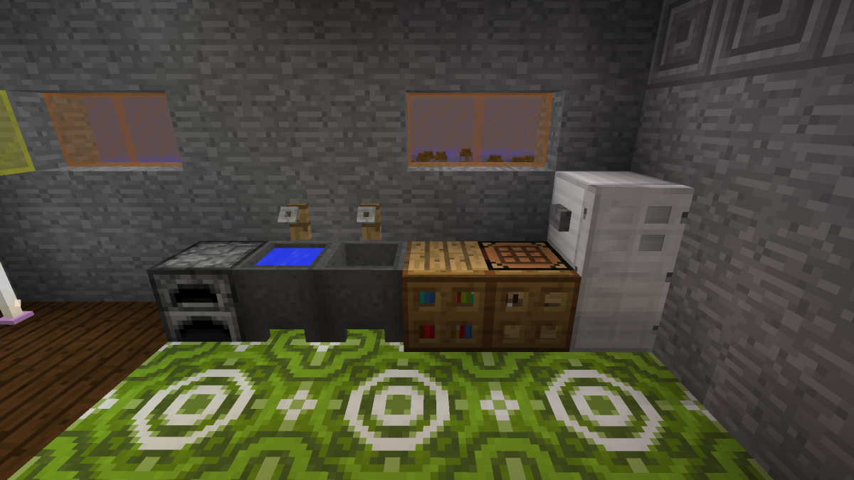 Using a furnace, cauldrons with water, and a hidden chest make kitchens functional.