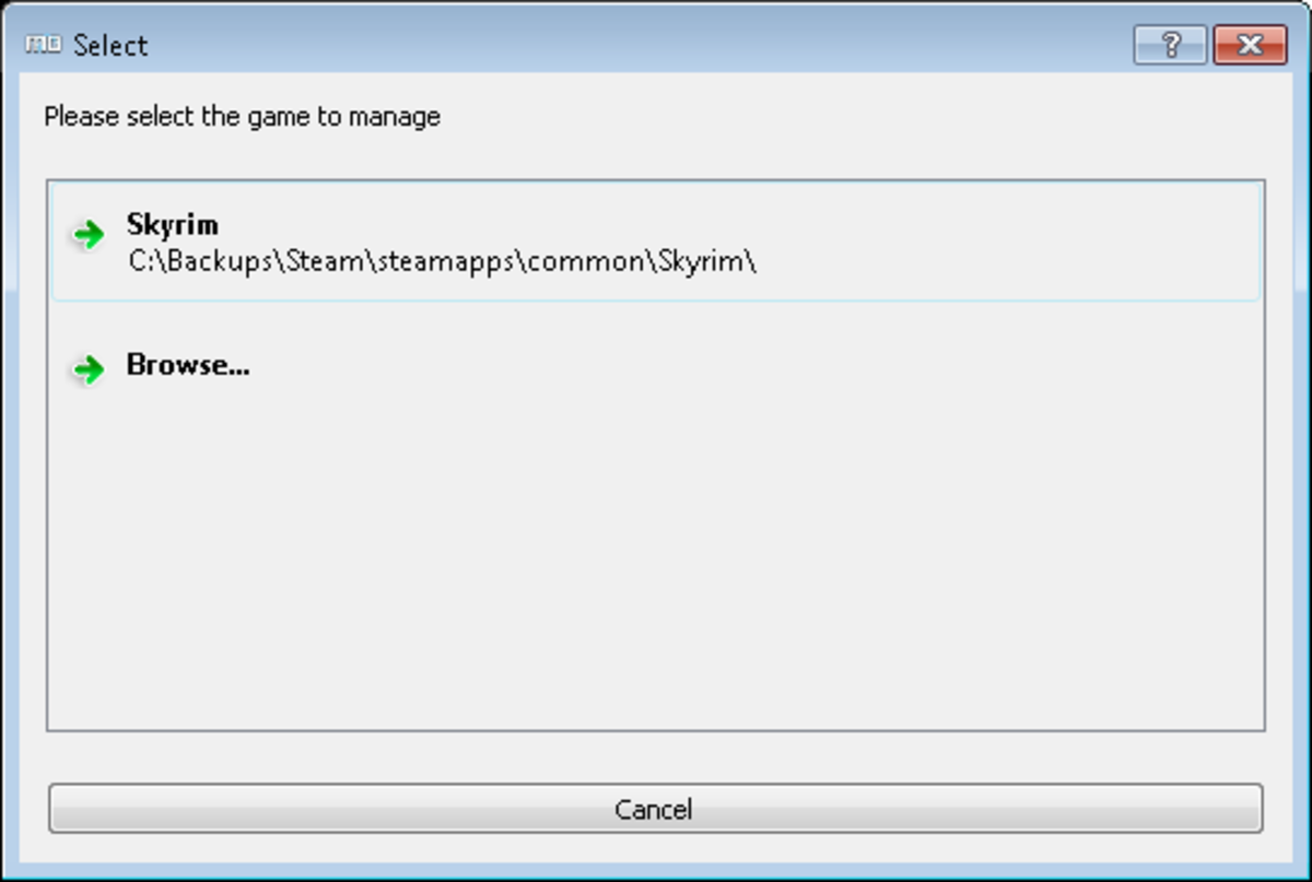 Choose the game you are going to use Mod Organizer with from the list or browse to a different installation location.