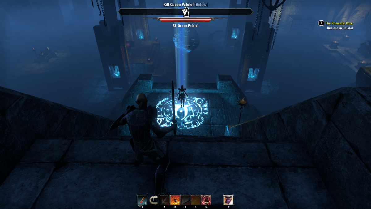 Exploring the past during the Prismatic Core quest of The Elder Scrolls Online.
