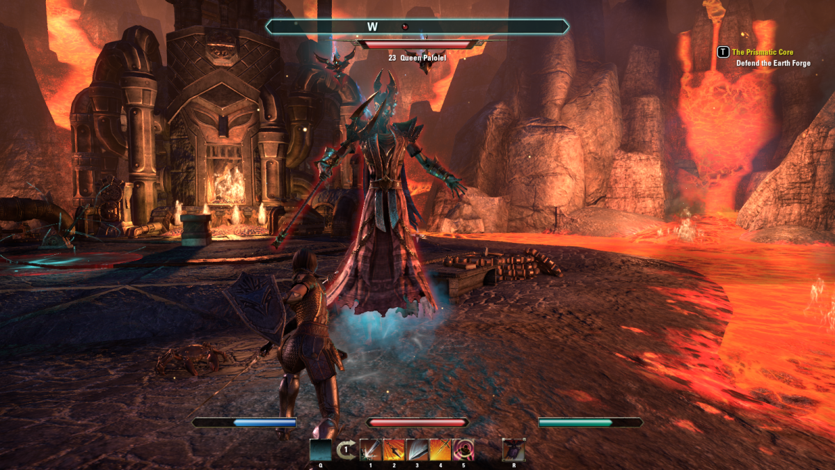 Protecting the massive Earth Forge during the Prismatic Core quest in The Elder Scrolls Online.