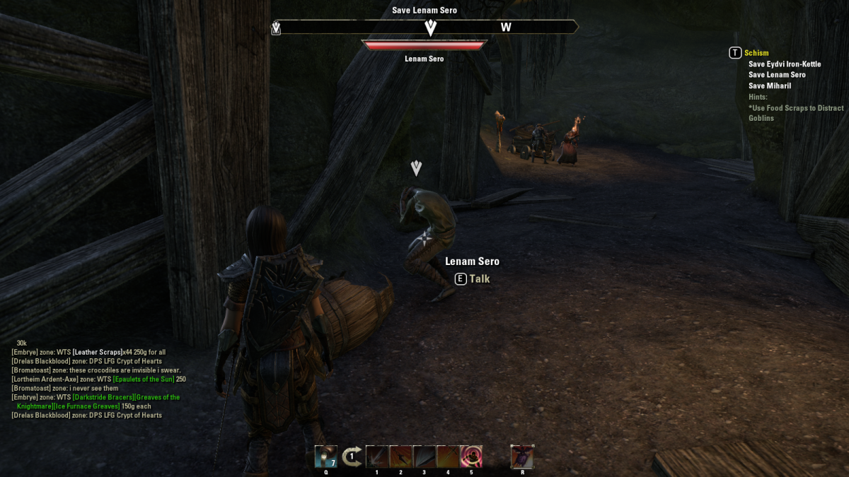 Exploring Mud Tree Mine during the Schism quest in The Elder Scrolls Online.