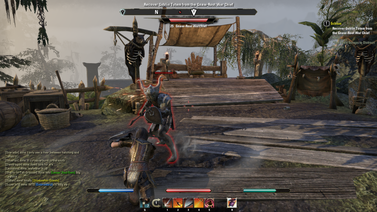 Taking on the Goblin Warchief during the Schism quest in The Elder Scrolls Online.