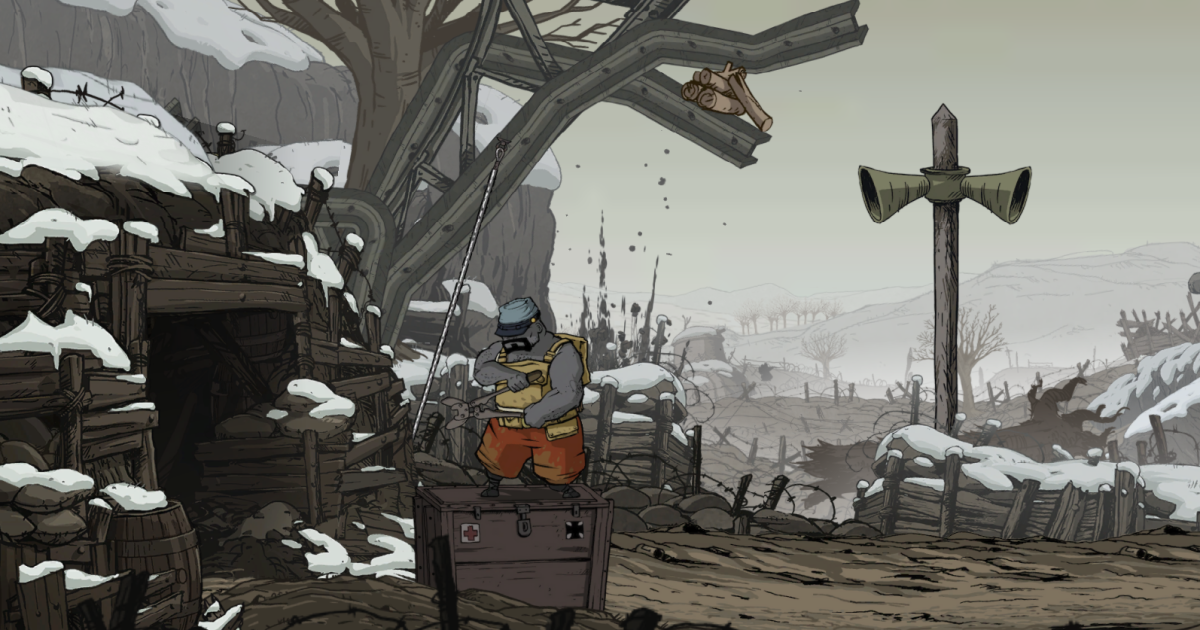 Freddie stands atop a box at Verdun in Valiant Hearts.