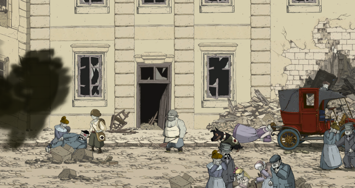 """Emile picks his way through the crumbled streets of Reims in """"Valiant Hearts."""""""