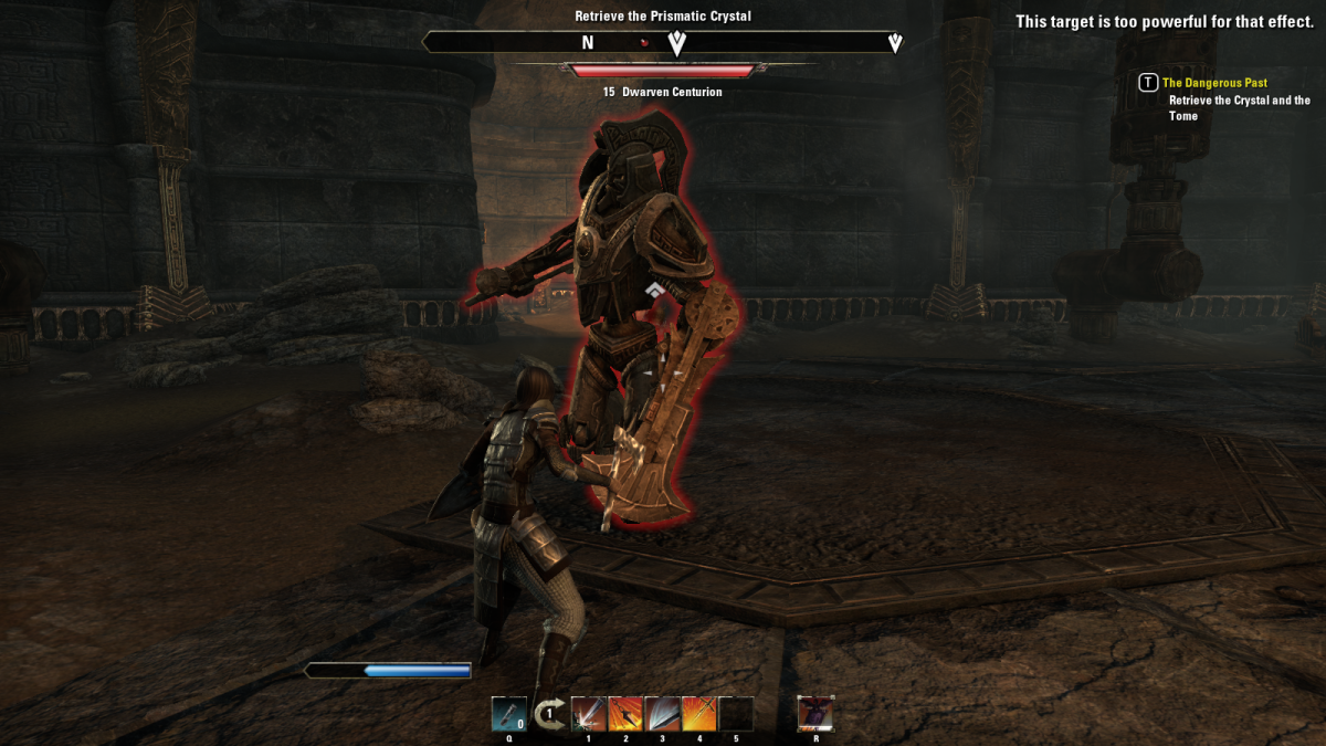 Taking on a mighty Dwarven Centurion during the events of The Dangerous Past in The Elder Scrolls Online.