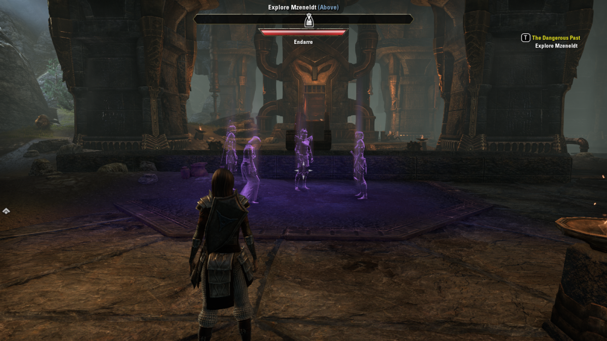 Discovering past events of daring explorers of Mzeneldt during The Dangerous Past quest in The Elder Scrolls Online.