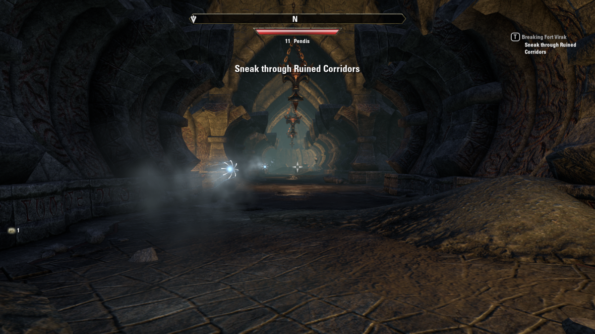 Slipping through the ruined walls of Fort Virak as a simple wisp during the Breaking the Fort quest in The Elder Scrolls Online.