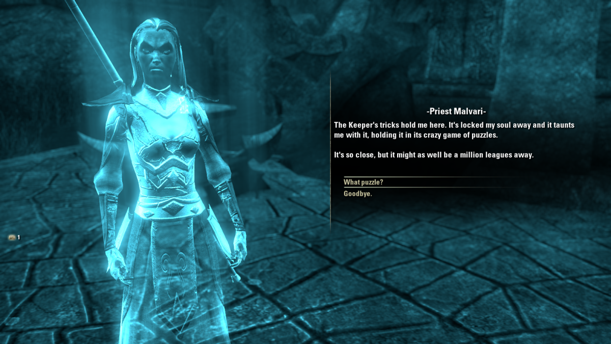 Priest Malvari, a spirit held captive by Magistrix Vox during The Judgement of Veloth quest in The Elder Scrolls Online.