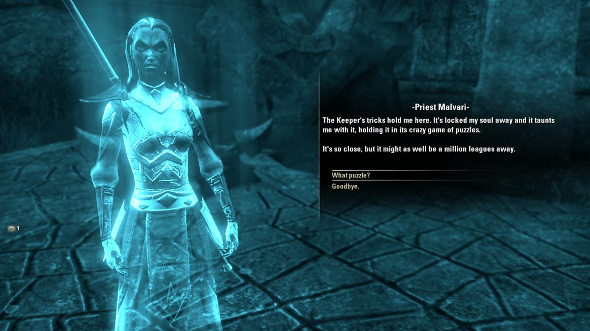 "Priest Malvari, a spirit held captive by Magistrix Vox during The Judgement of Veloth quest in ""The Elder Scrolls Online."""