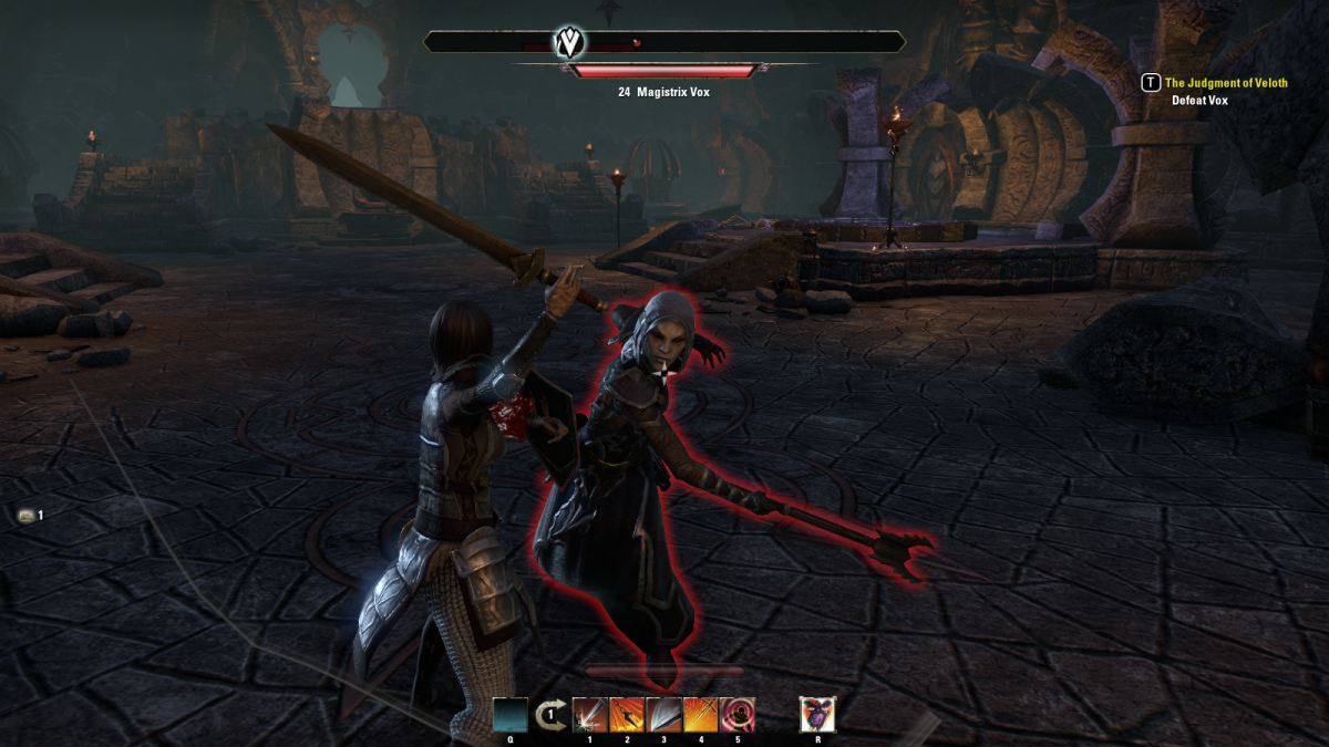 "Battling Magistrix Vox, the final boss of a long quest line in ""The Elder Scrolls Online."""