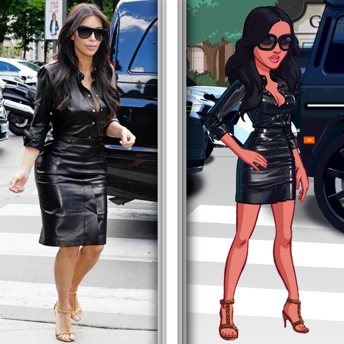 Kim Kardashian wears an edgy leather dress