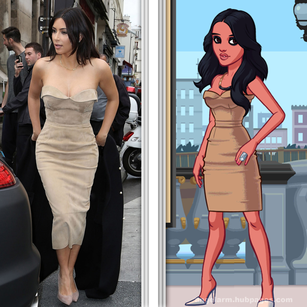 Kim Kardashian wears a gorgeous beige dress in Paris