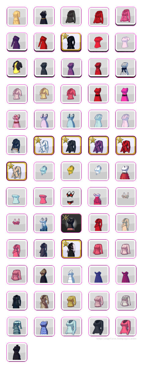 Kim Kardashian: Hollywood Game Clothing Guide - Shirts, Dresses & Outfits (Hearts)
