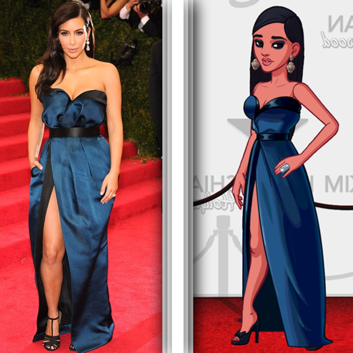Kim Kardashian wears an extravagant blue gown on the red carpet