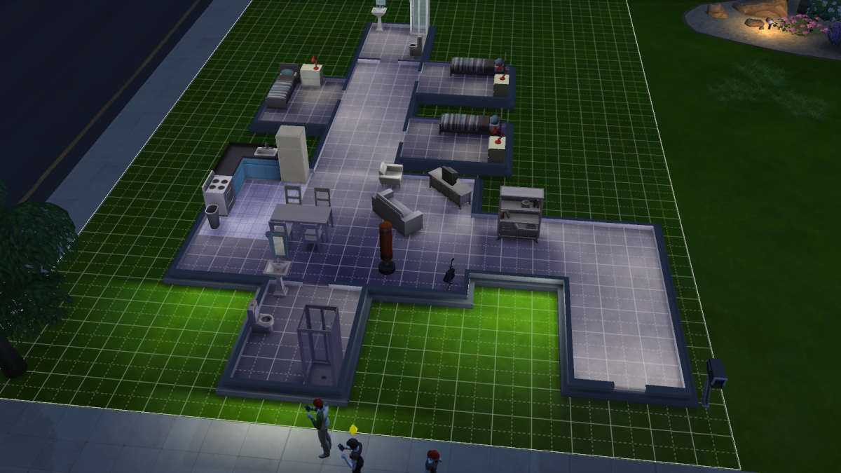 A house in The Sims 4, now stocked with the basics.