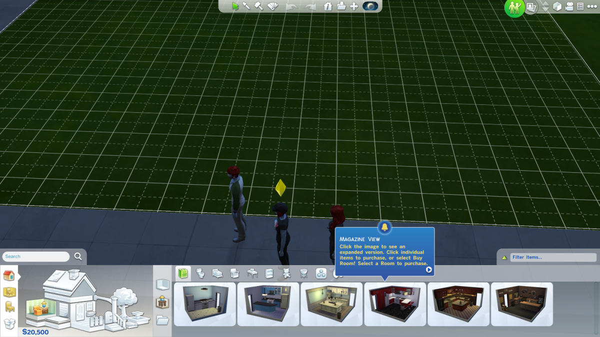 The Build Mode in The Sims 4. You can only purchase new items for sims (outside, say, food or drinks) in the Build Mode.