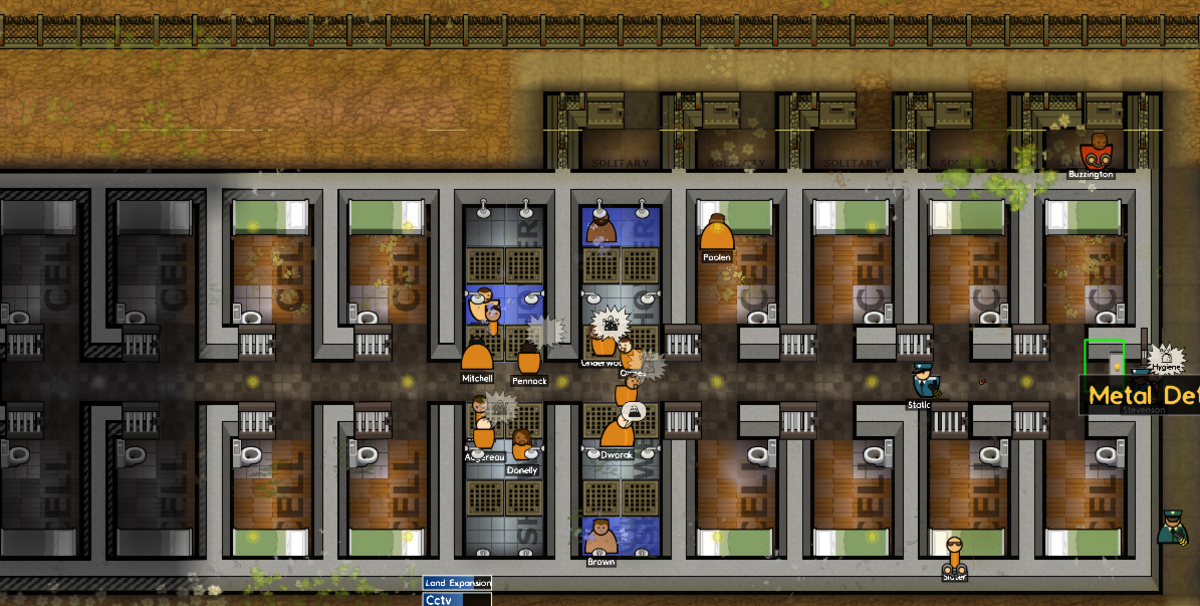 The Medium Security Cell Block. Note the Solitary Cells at the top. I installed metal detectors near the entrance of the cell block to catch prisoners bringing contrabands such as weapons and tools.