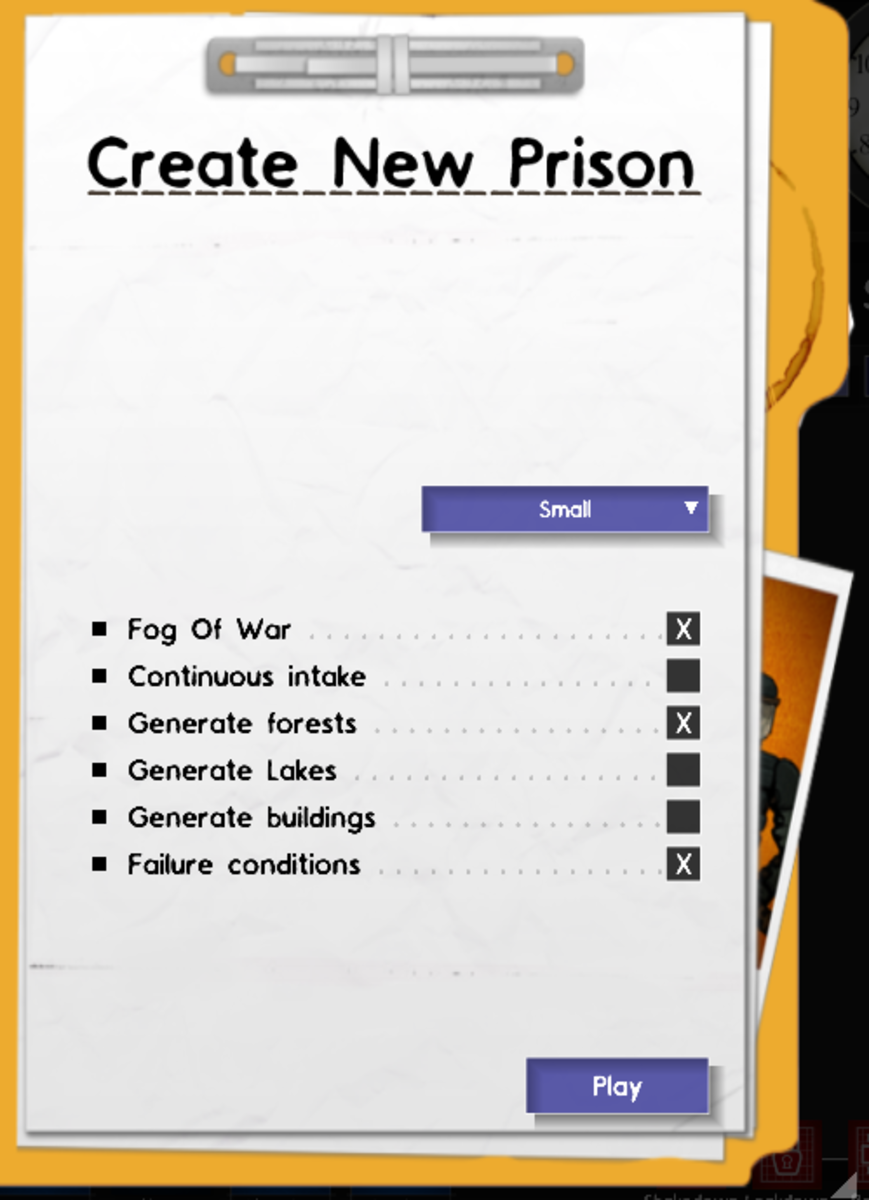 The menu for creating a new prison.