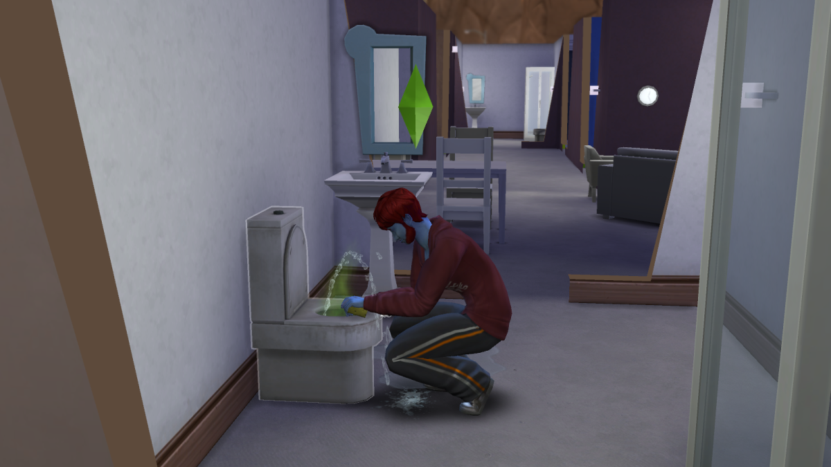 A sim cleaning a dirty toilet in The Sims 4. Yep, even in a video game you have to clean your toilets.