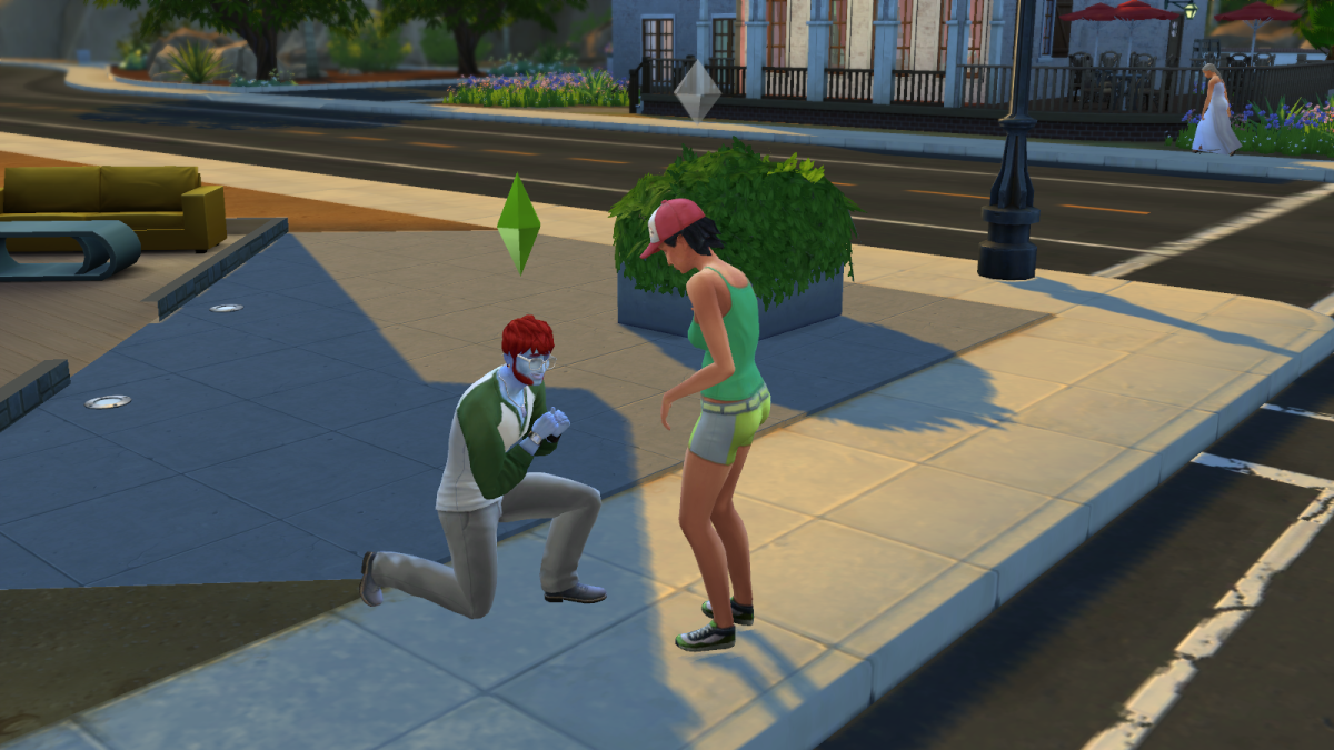 A sim proposing marriage in The Sims 4.