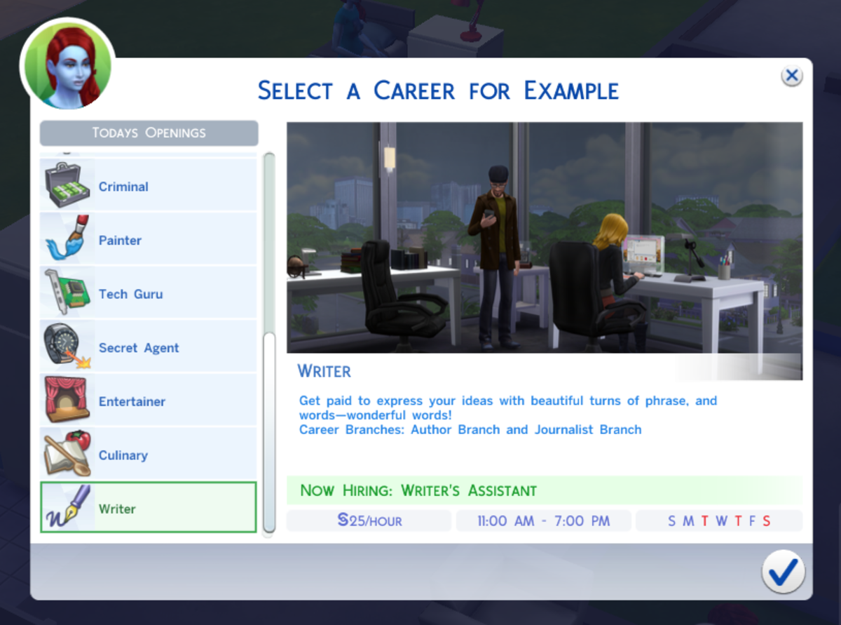 The Writer's Assistant career branch in The Sims 4.