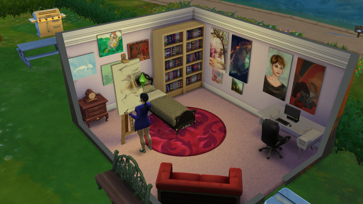 A sim painting in her room in The Sims 4. Painted pictures can be sold or kept for decoration.