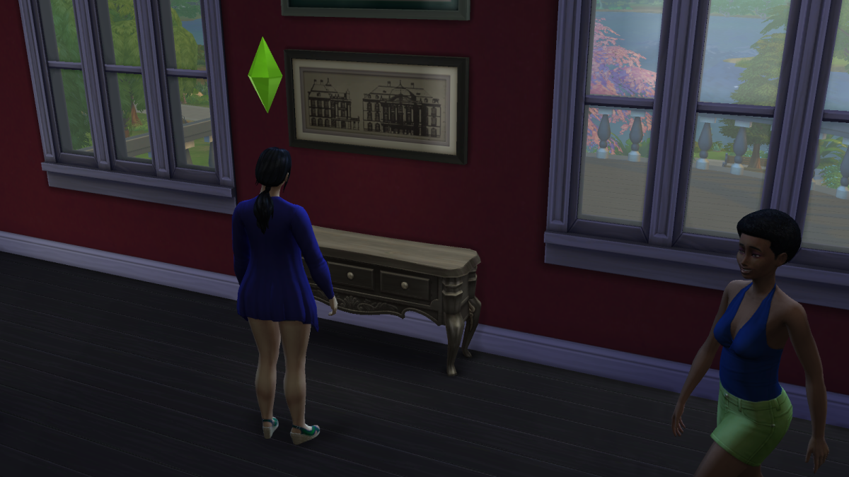 """A sim observing art in a museum in """"The Sims 4."""" This activity is more important than it sounds."""