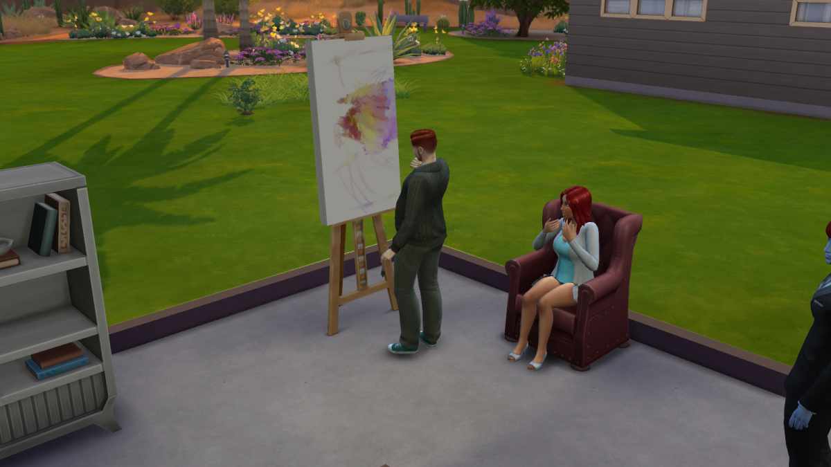 A sim painting a picture in The Sims 4 while another sim looks on. Paintings can evoke emotional responses, and sell based on their quality.