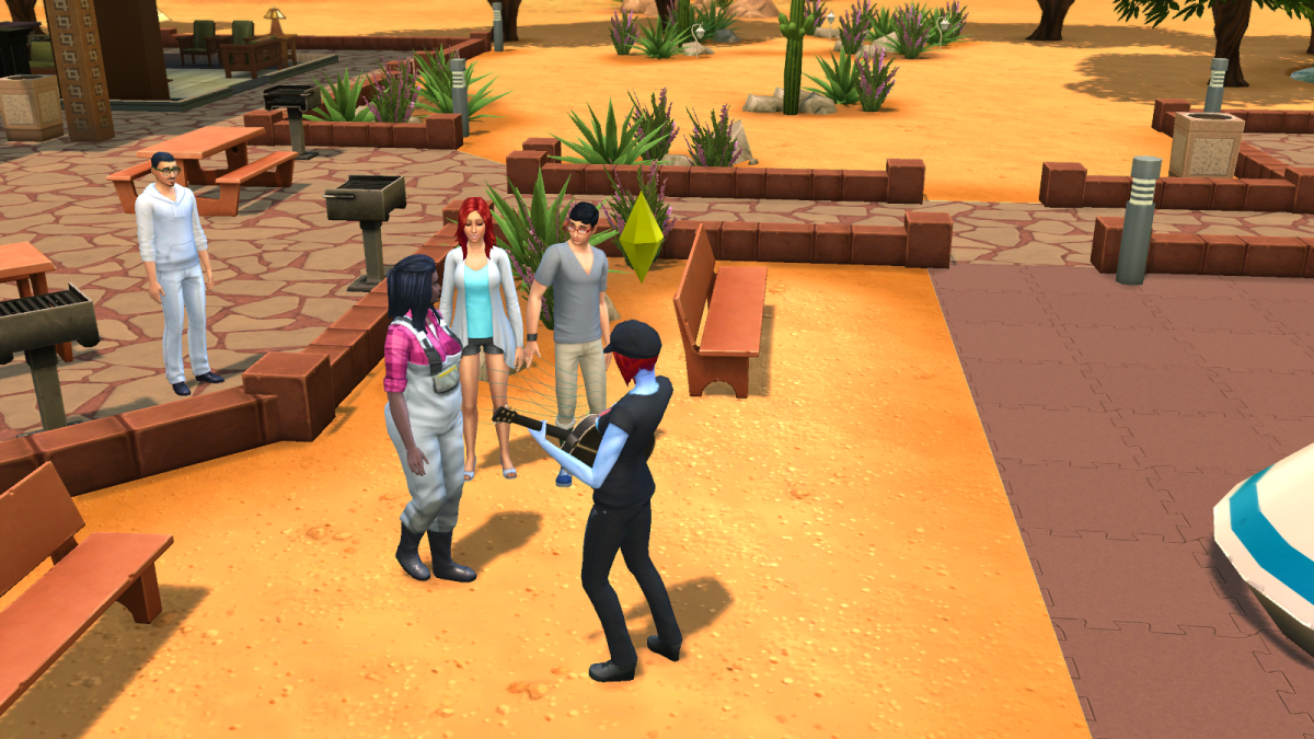 A sim playing guitar for an adoring public in The Sims 4. Sims who play instruments to strangers or friends may earn tips.