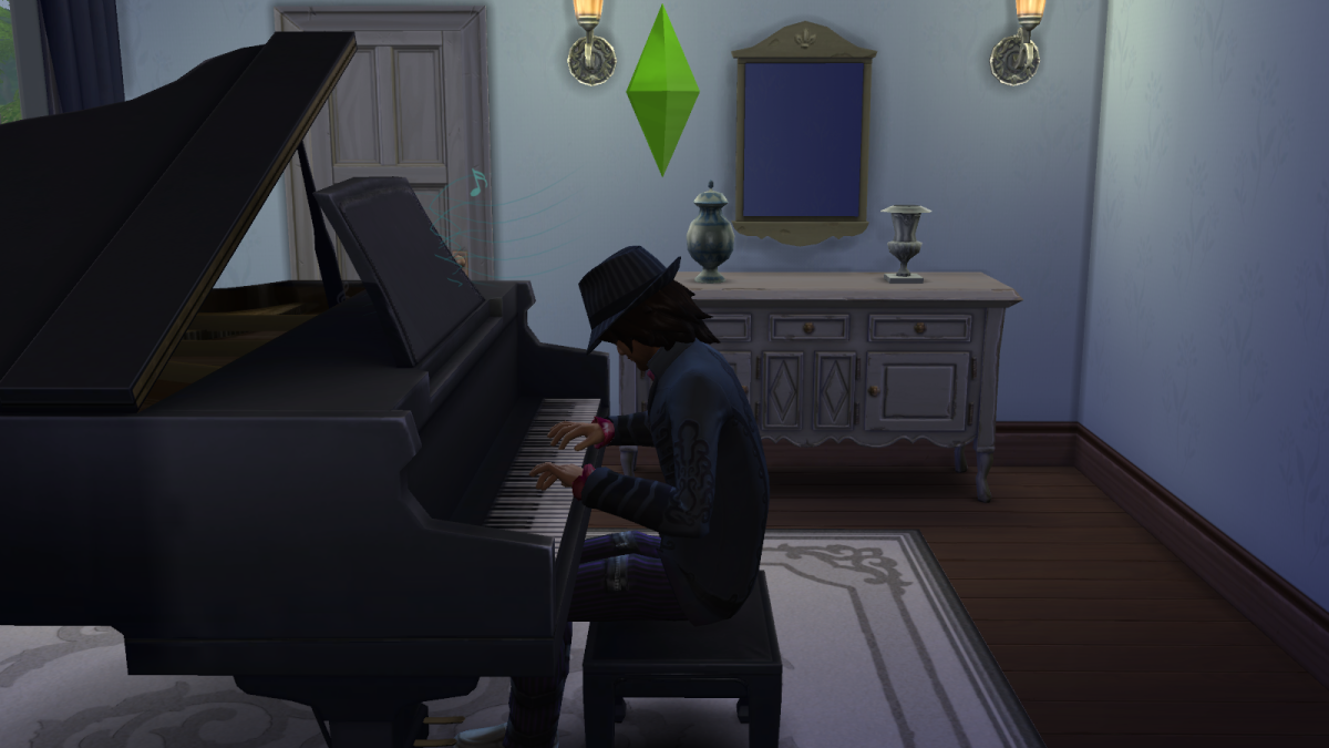 A sim playing a piano in The Sims 4. Note that pianos, guitars, and violins all have their own skills.