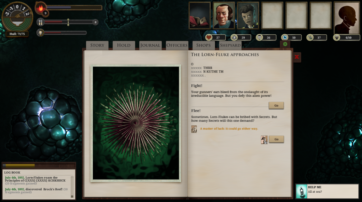 The player encounters a dangerous Lorn-Fluke in Sunless Sea.