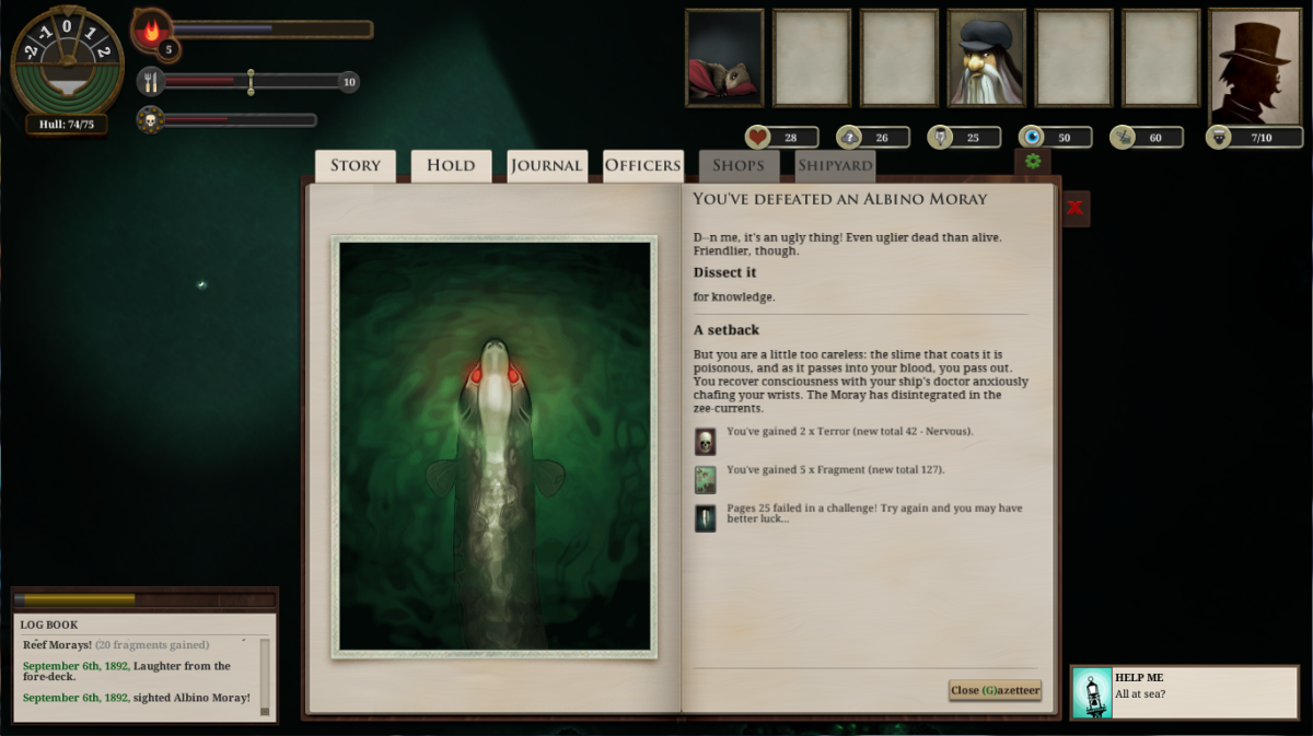 The player takes on an Albino Moray in Sunless Sea.