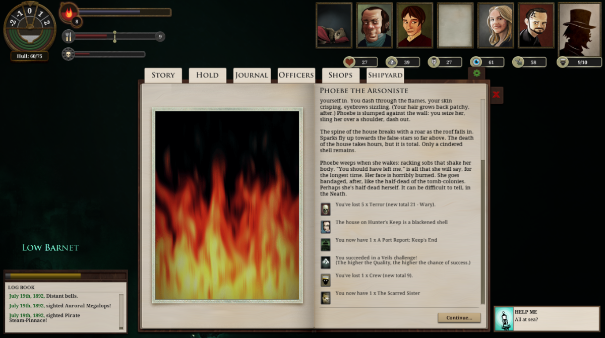 Hunter's Keep is set aflame in Sunless Sea.