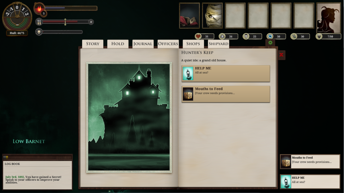 The player visits Hunter's Keep in Sunless Sea.